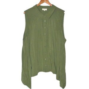 ModCloth Green Sleeveless Button Down Top Plus 3X